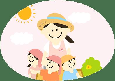 園児たちとお散歩をする先生のイラスト