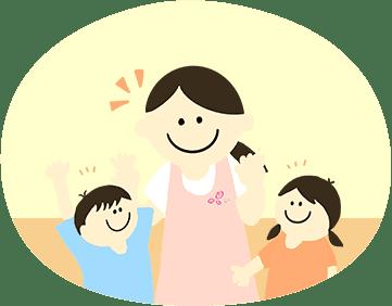 園児たちと触れ合う先生のイラスト
